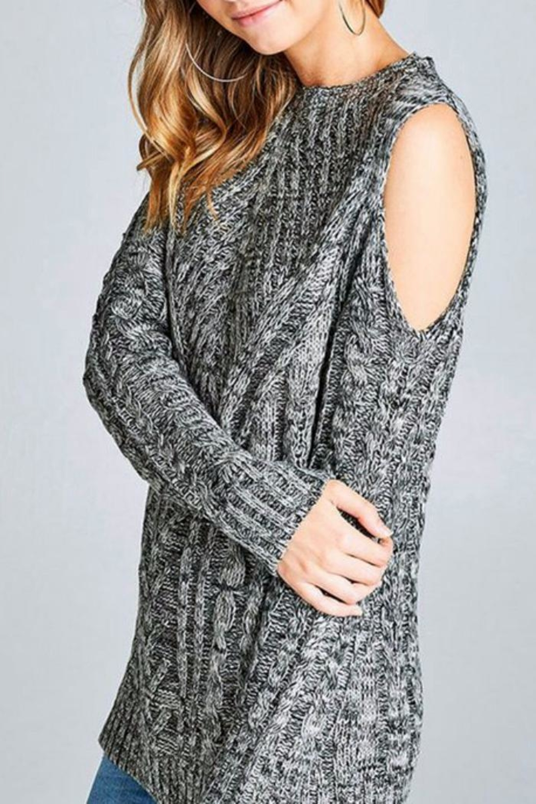 Simply Chic Open Shoulder Sweater - Side Cropped Image