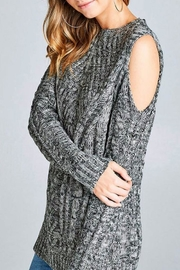 Simply Chic Open Shoulder Sweater - Side cropped