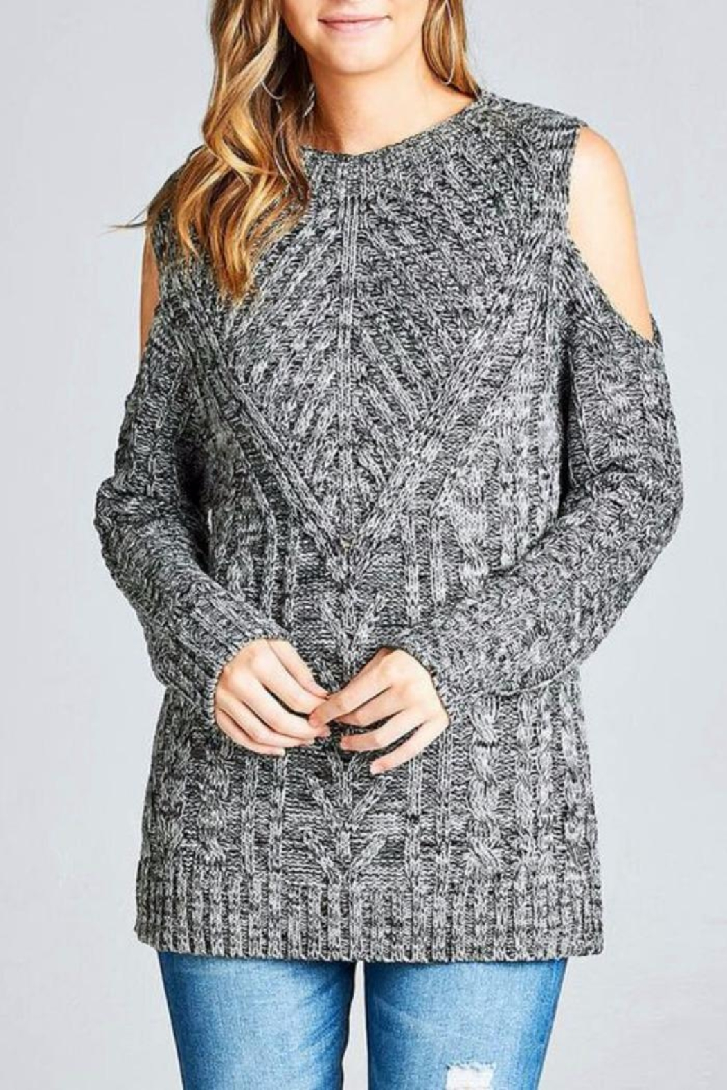Simply Chic Open Shoulder Sweater - Main Image