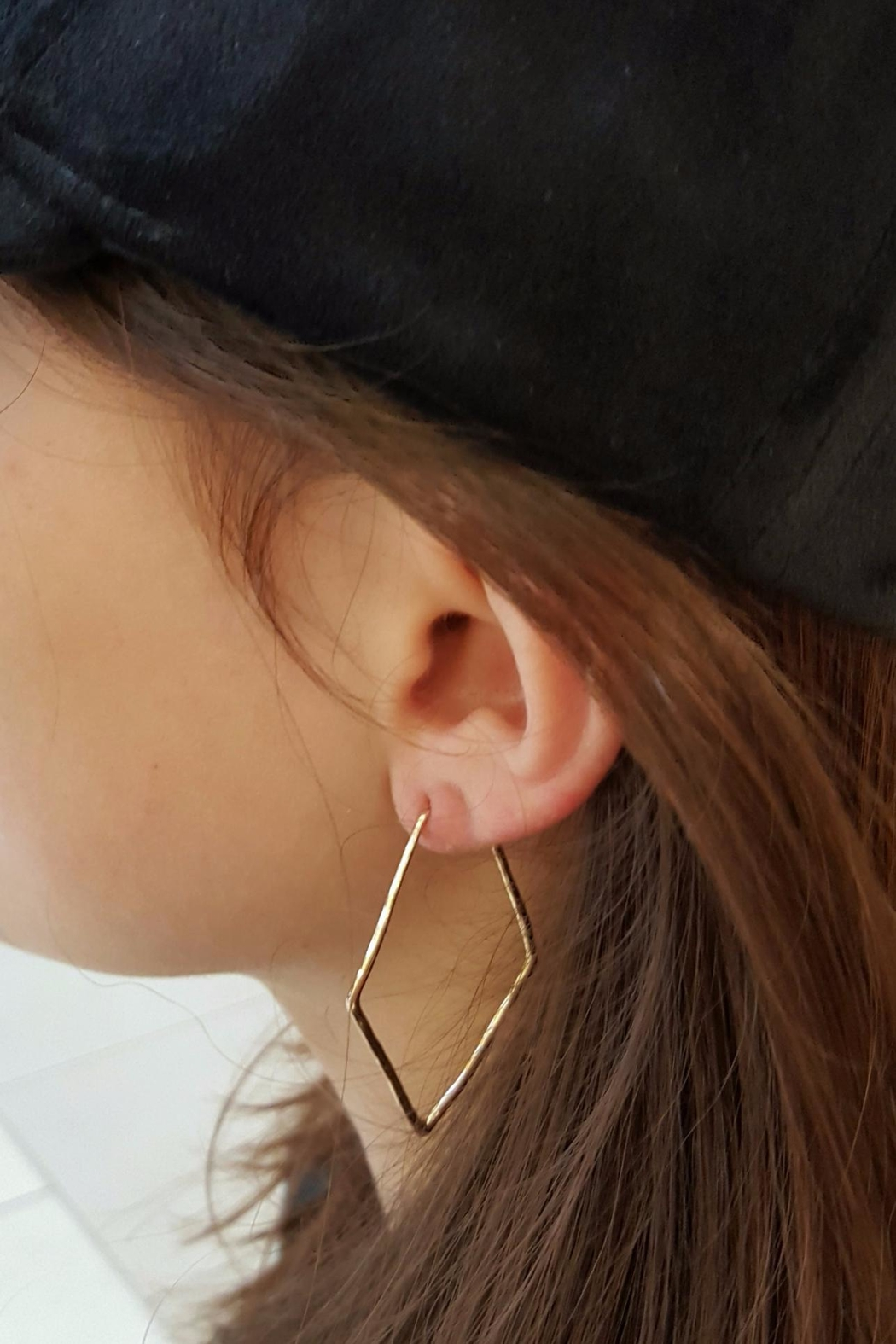 Simply Chic Pentagon Hoop Earrings - Side Cropped Image