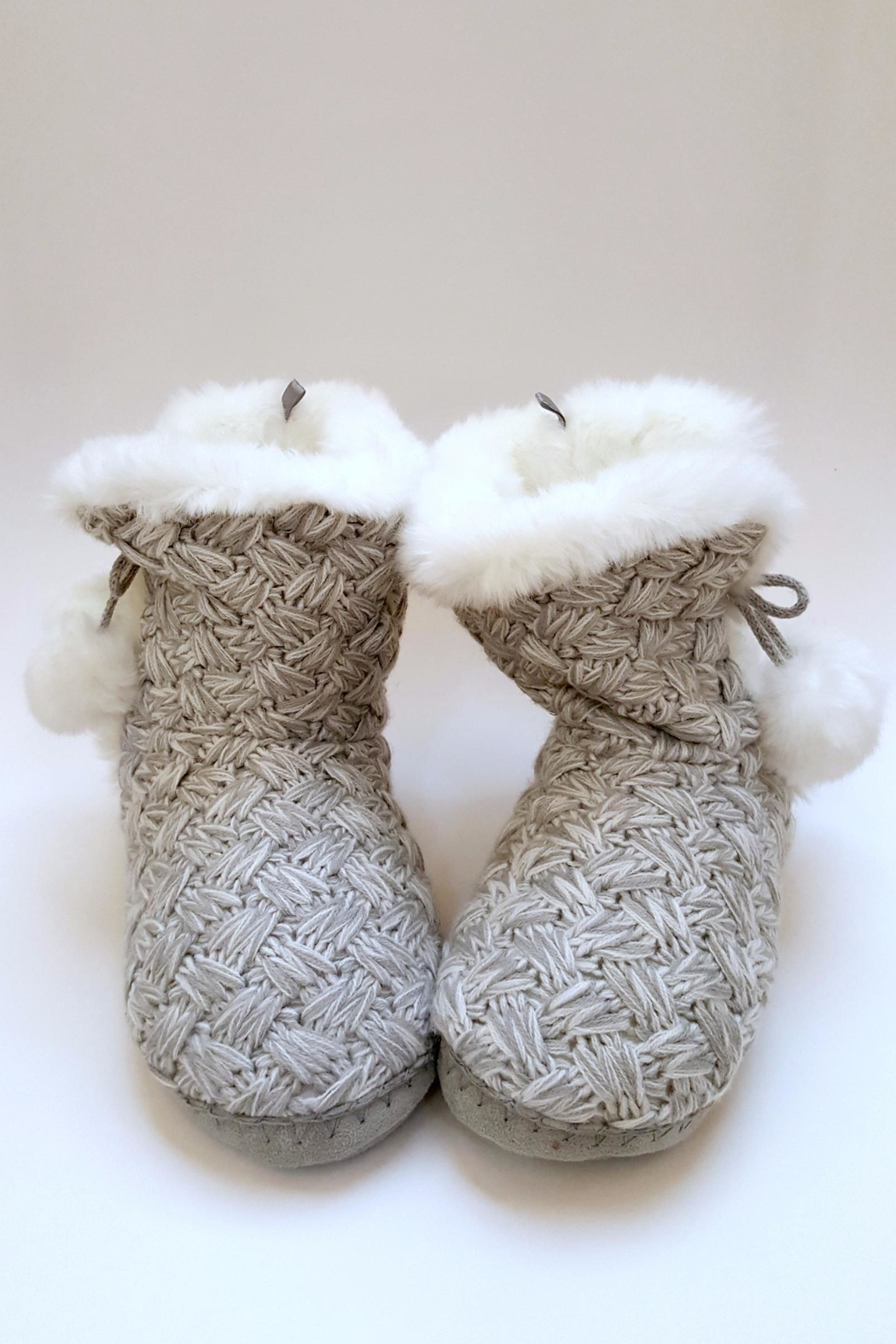 Simply Chic Pom-Pom Bootie Slippers - Main Image