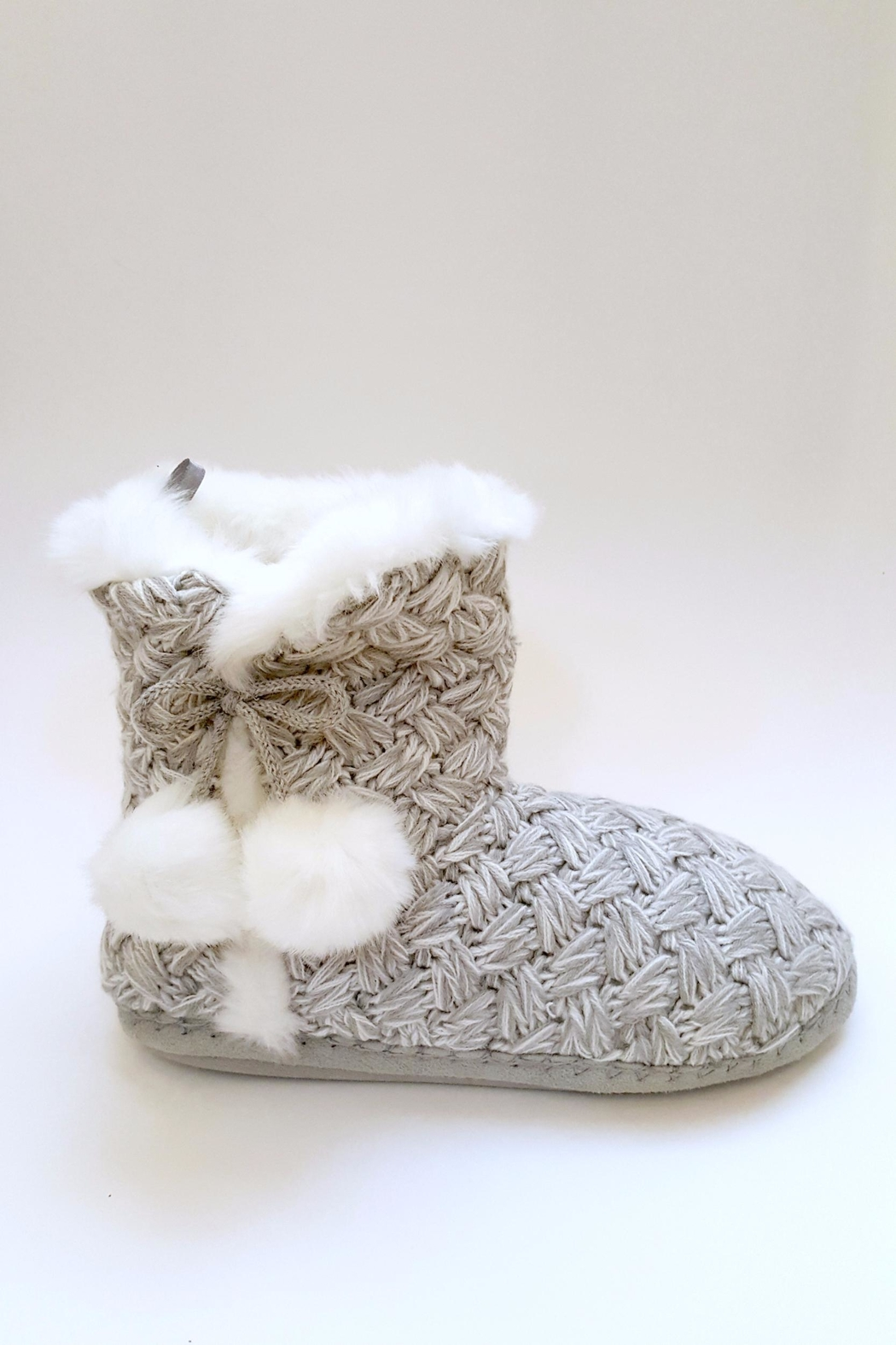 Simply Chic Pom-Pom Bootie Slippers - Front Full Image