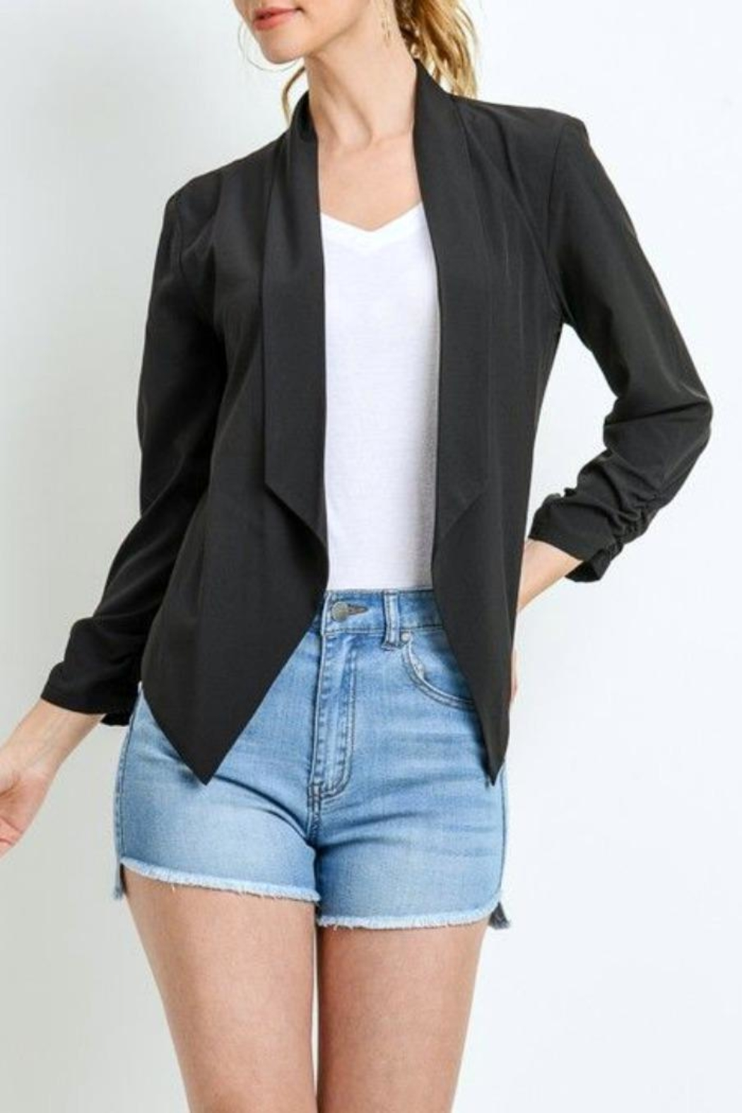 Simply Chic Scrunched Sleeve Blazer - Main Image