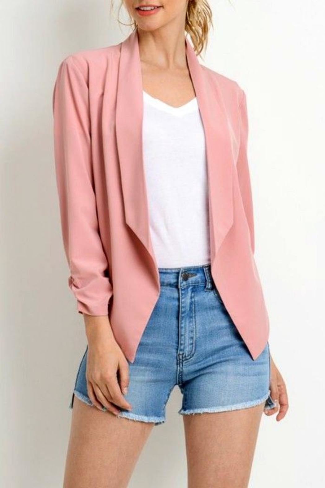 Simply Chic Scrunched Sleeve Blazer - Front Cropped Image