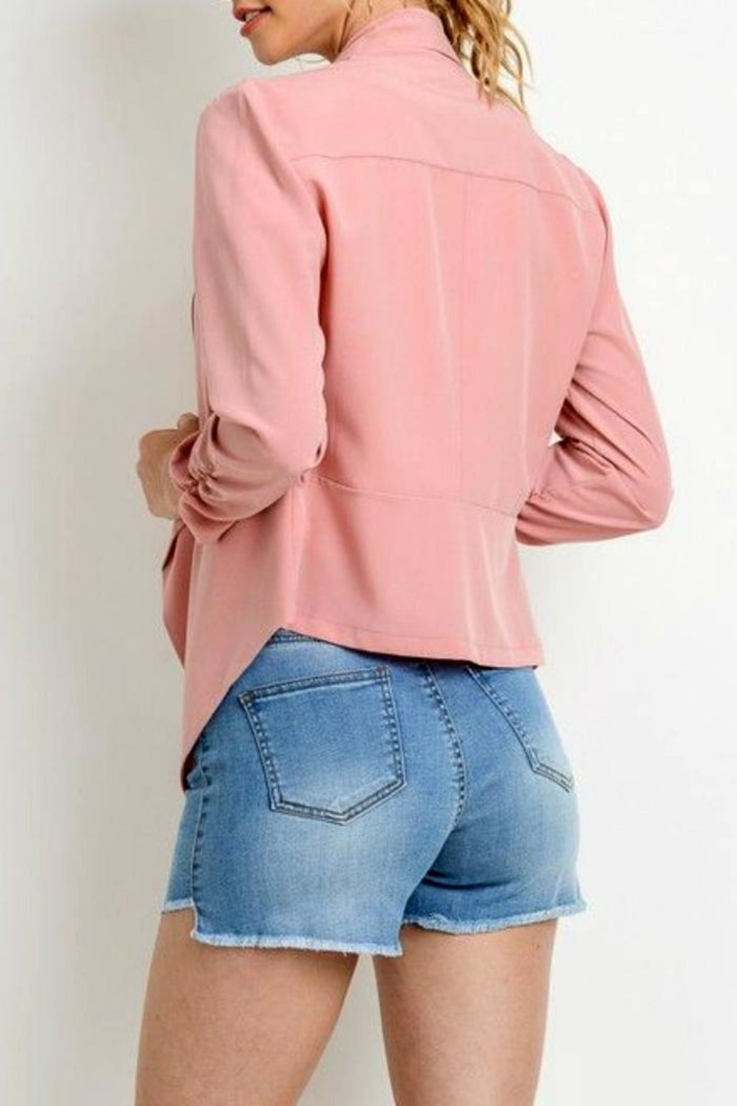 Simply Chic Scrunched Sleeve Blazer - Front Full Image