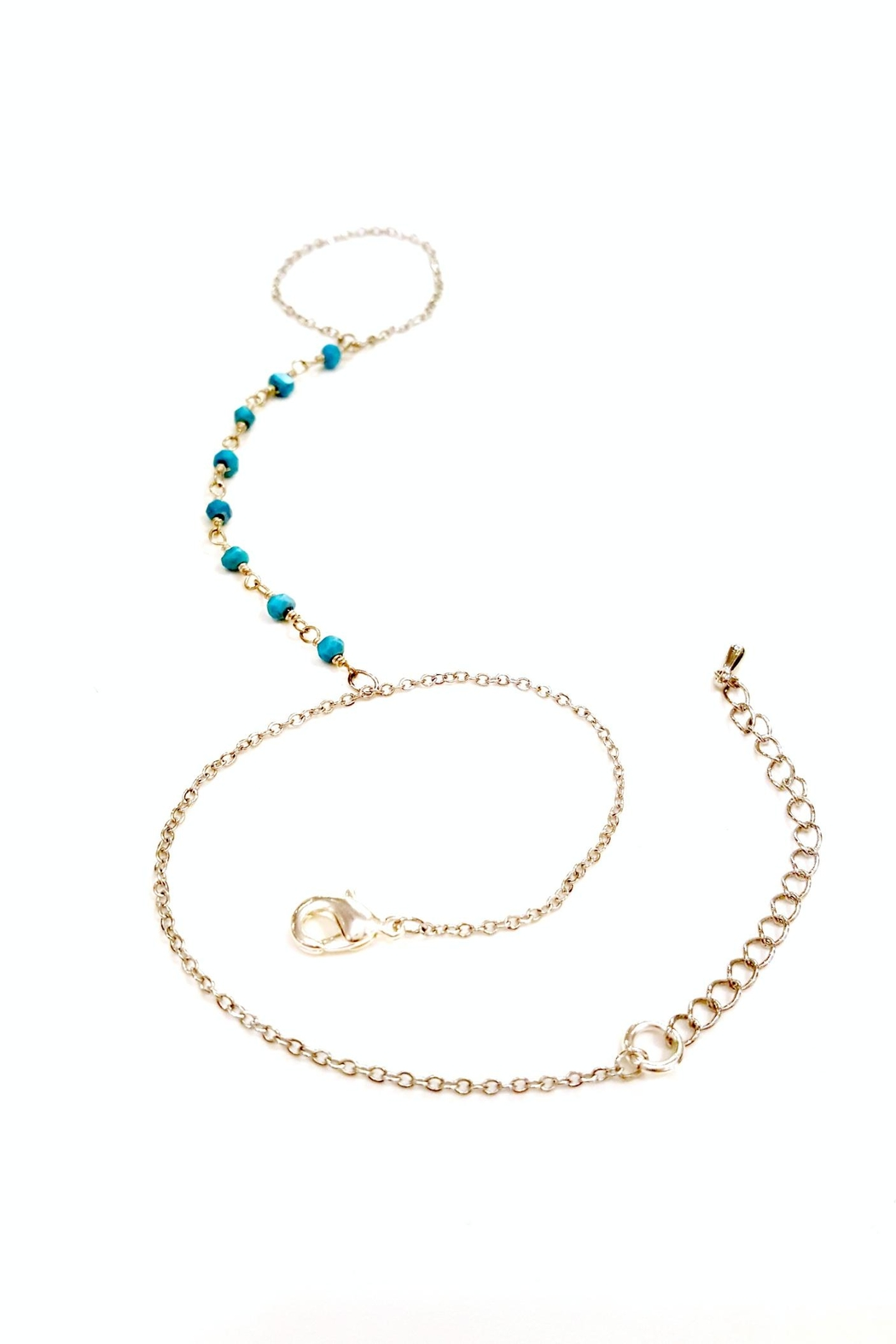Simply Chic Turquoise Hand-Chain Bracelet - Side Cropped Image