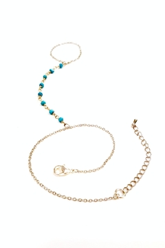 Simply Chic Turquoise Hand-Chain Bracelet - Alternate List Image