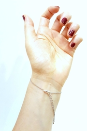 Simply Chic Turquoise Hand-Chain Bracelet - Front full body