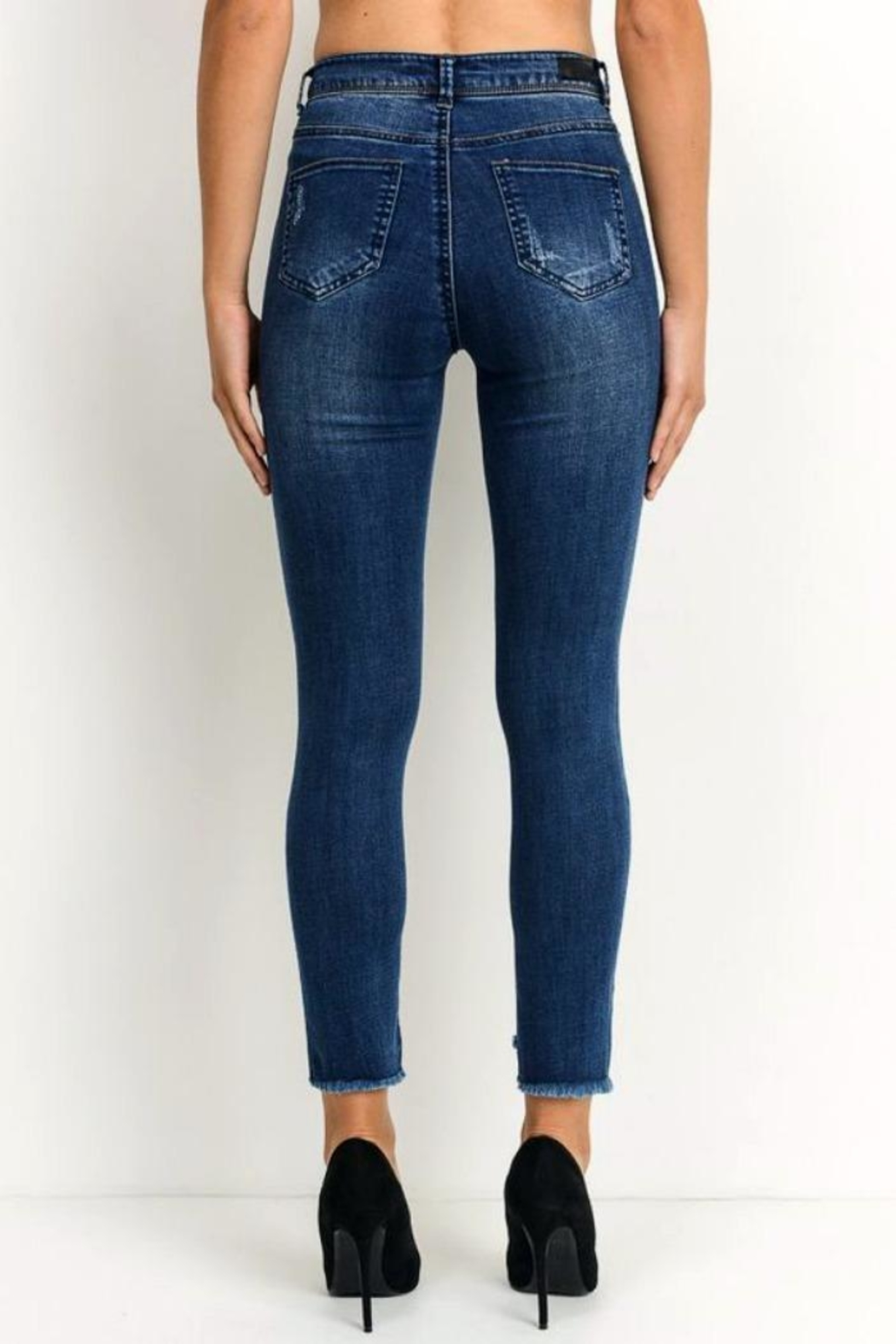 Simply Chic Uneven Hem Jeans - Side Cropped Image