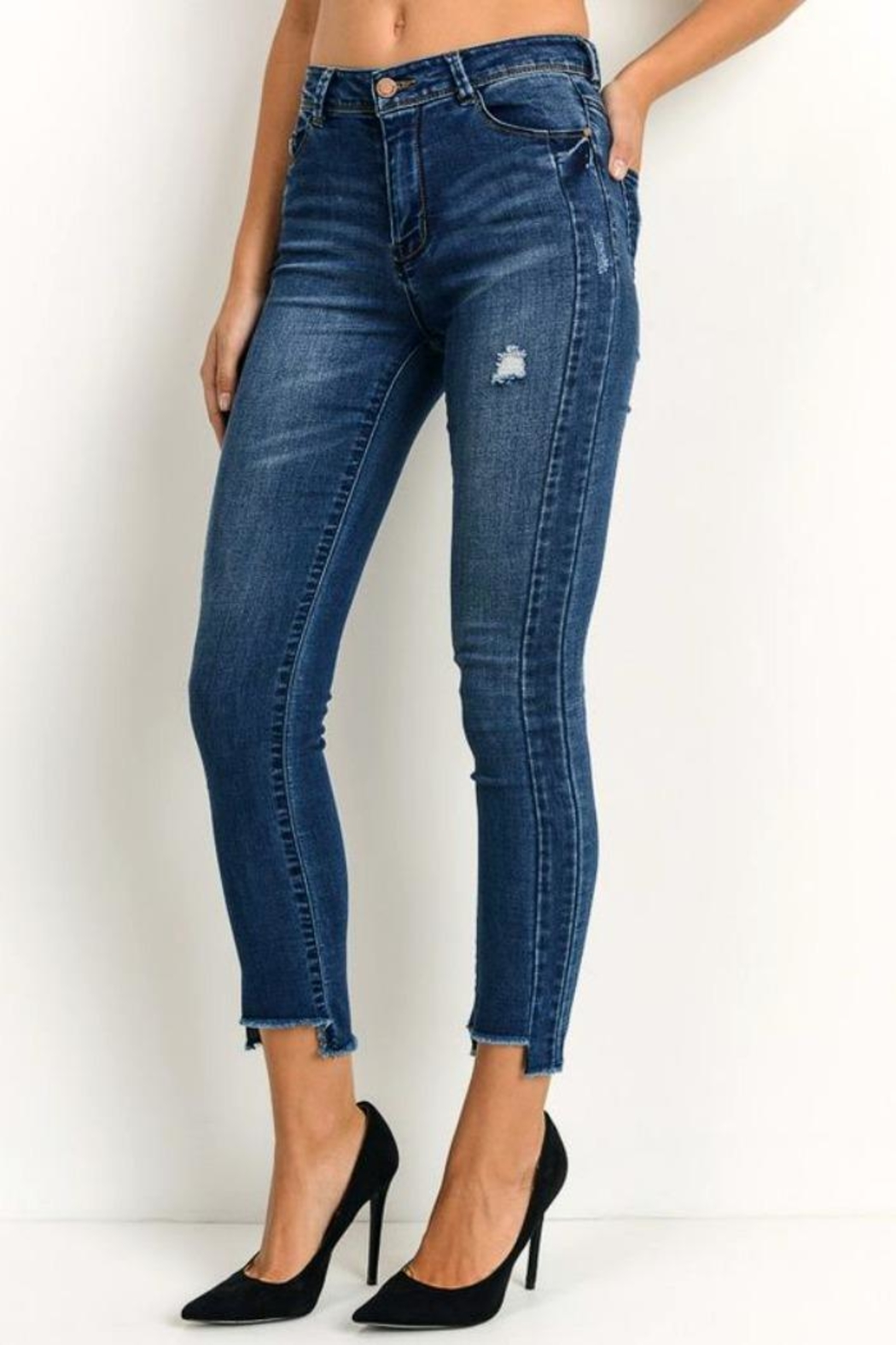 Simply Chic Uneven Hem Jeans - Front Full Image