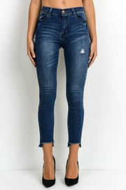Simply Chic Uneven Hem Jeans - Front cropped