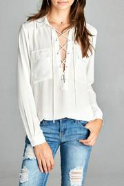 Simply Chic White Lace Up Top - Product Mini Image