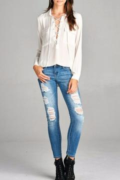Simply Chic White Lace Up Top - Alternate List Image