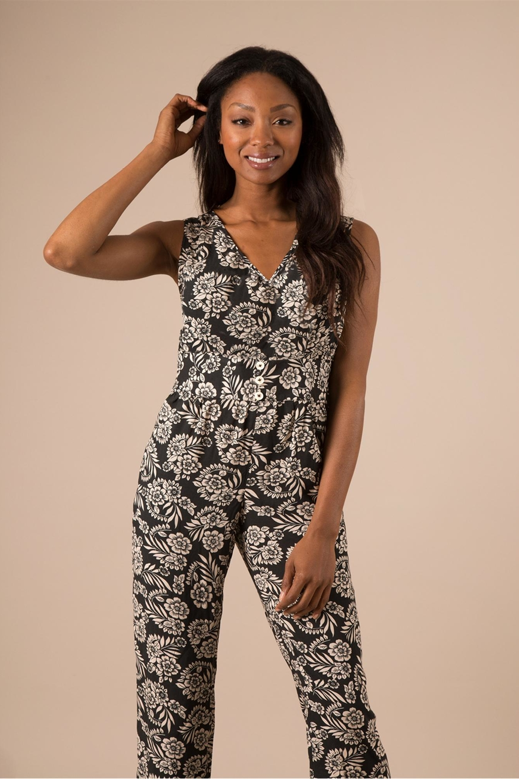 Simply Noelle Black Floral Jumpsuit - Main Image