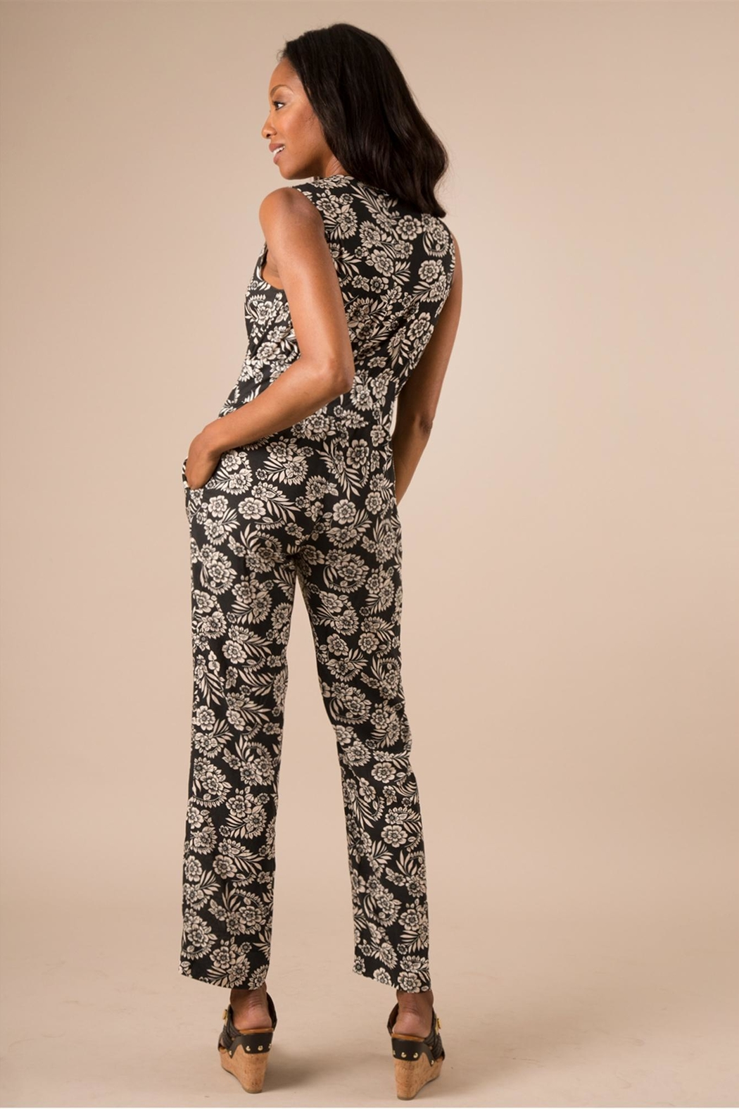 Simply Noelle Black Floral Jumpsuit - Side Cropped Image