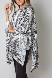 Simply Noelle Bordeaux Cardi Wrap Poncho Black And White Leopard - Back cropped