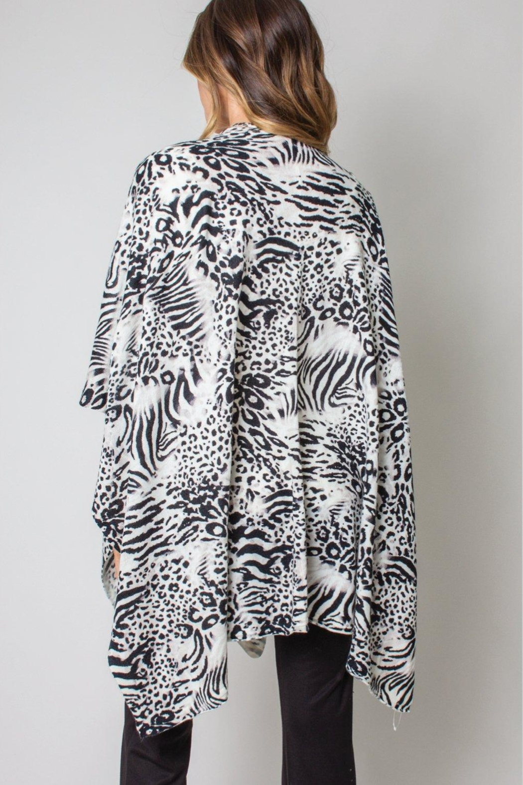 Simply Noelle Bordeaux Cardi Wrap Poncho Black And White Leopard - Front Full Image