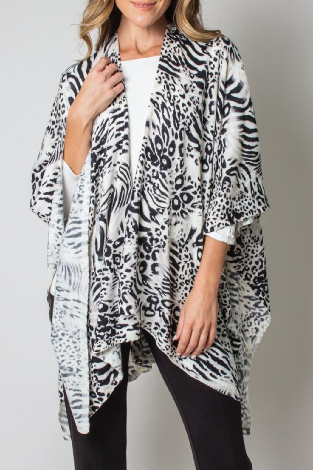 Simply Noelle Bordeaux Cardi Wrap Poncho Black And White Leopard - Main Image