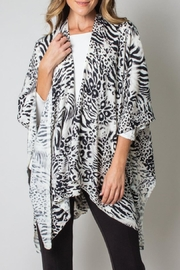 Simply Noelle Bordeaux Cardi Wrap Poncho Black And White Leopard - Front cropped