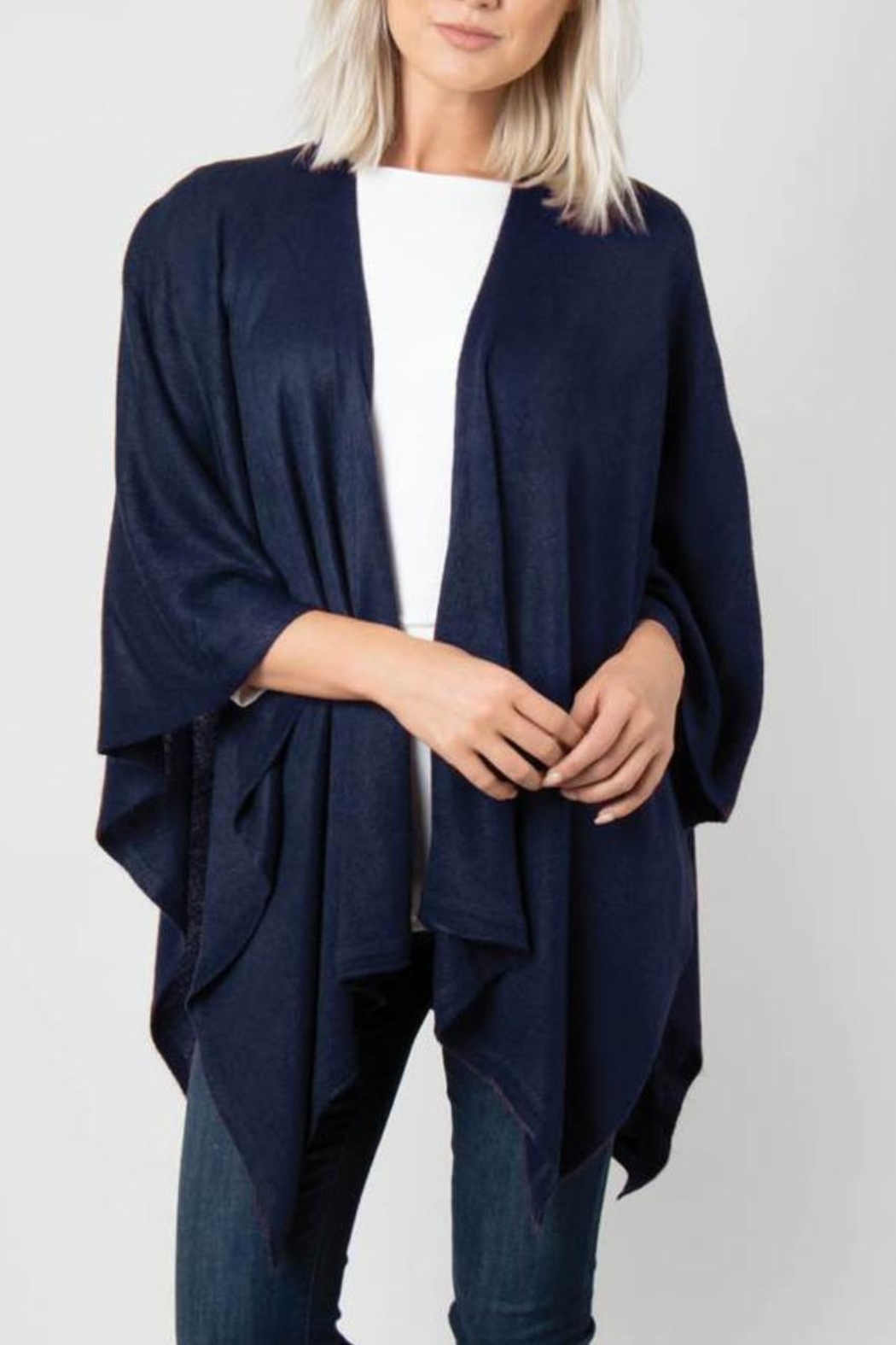 Simply Noelle Bordeaux Cardi Wrap Poncho - Front Cropped Image