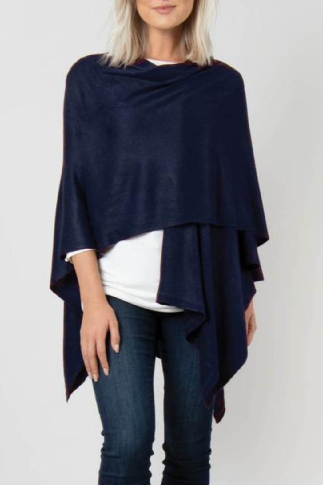 Simply Noelle Bordeaux Cardi Wrap Poncho - Front Full Image