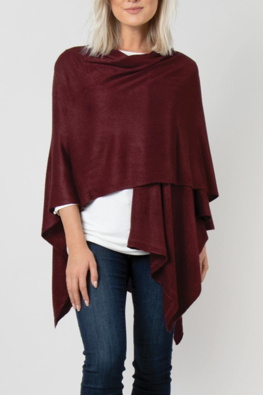 Simply Noelle Bordeaux Cardi Wrap Poncho - Side Cropped Image