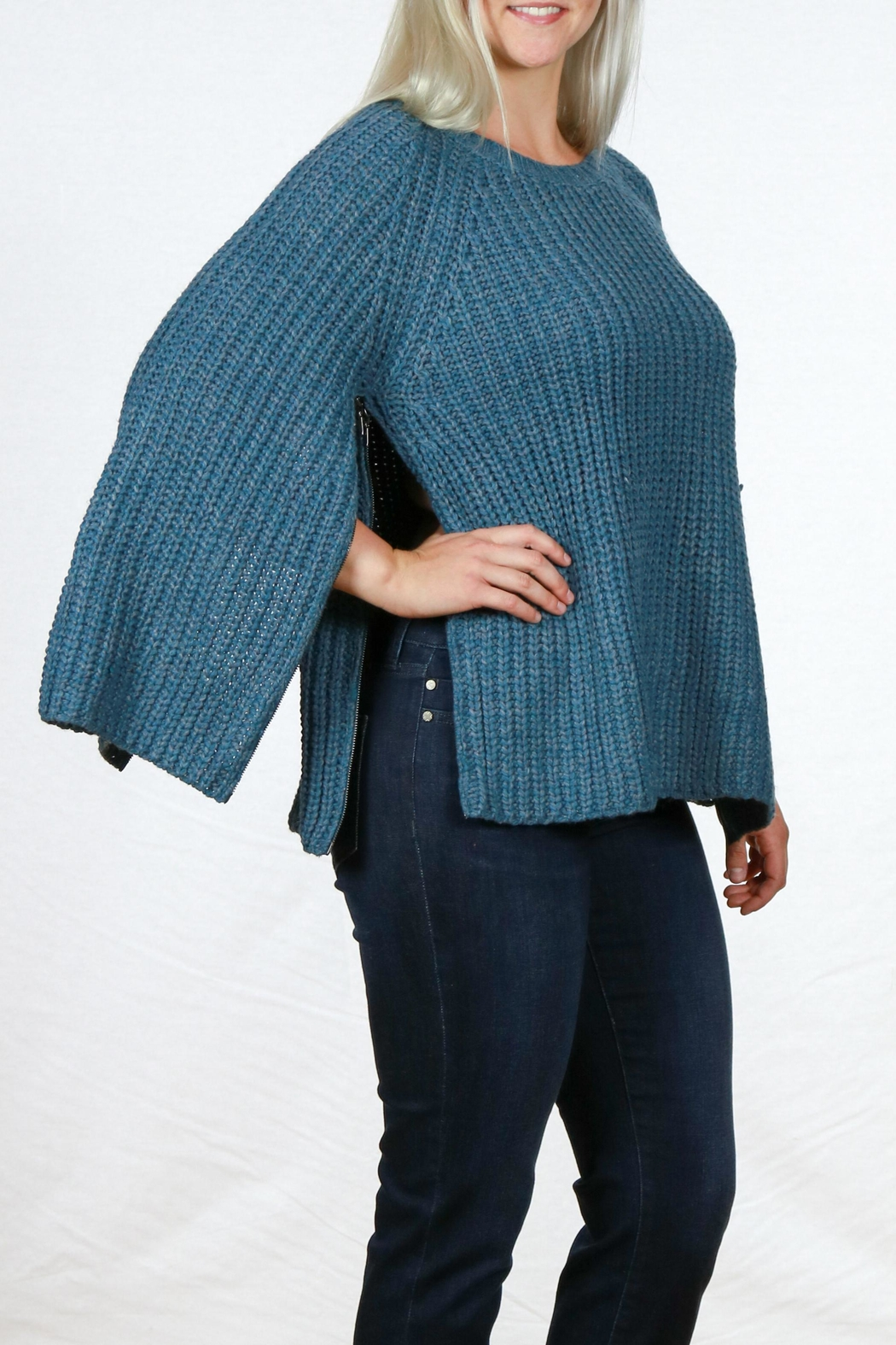 Simply Noelle Camper Sweater Poncho - Side Cropped Image