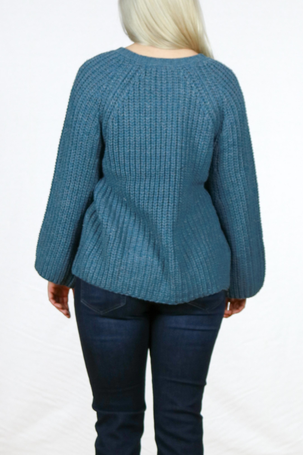 Simply Noelle Camper Sweater Poncho - Back Cropped Image