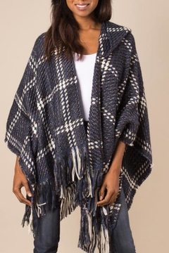 Simply Noelle Check Me Out Hooded Wrap Poncho Denim - Product List Image