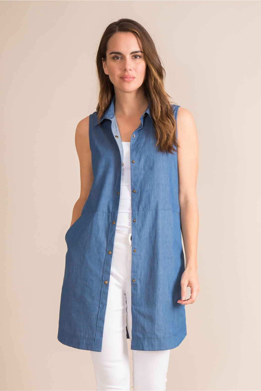 Simply Noelle Denim Convertible Dress - Side Cropped Image