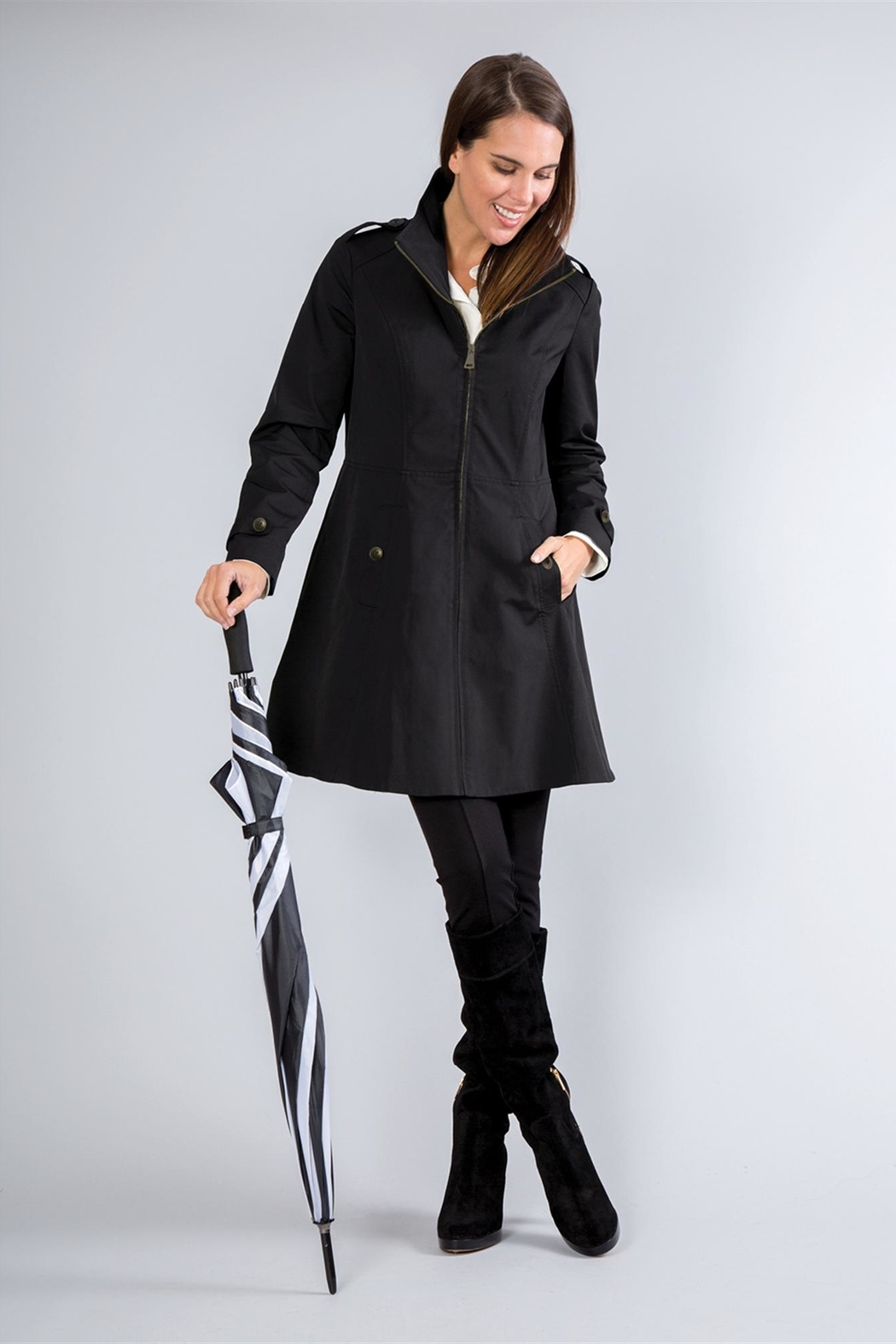 Simply Noelle Fit-And-Flare Rain Coat - Front Cropped Image