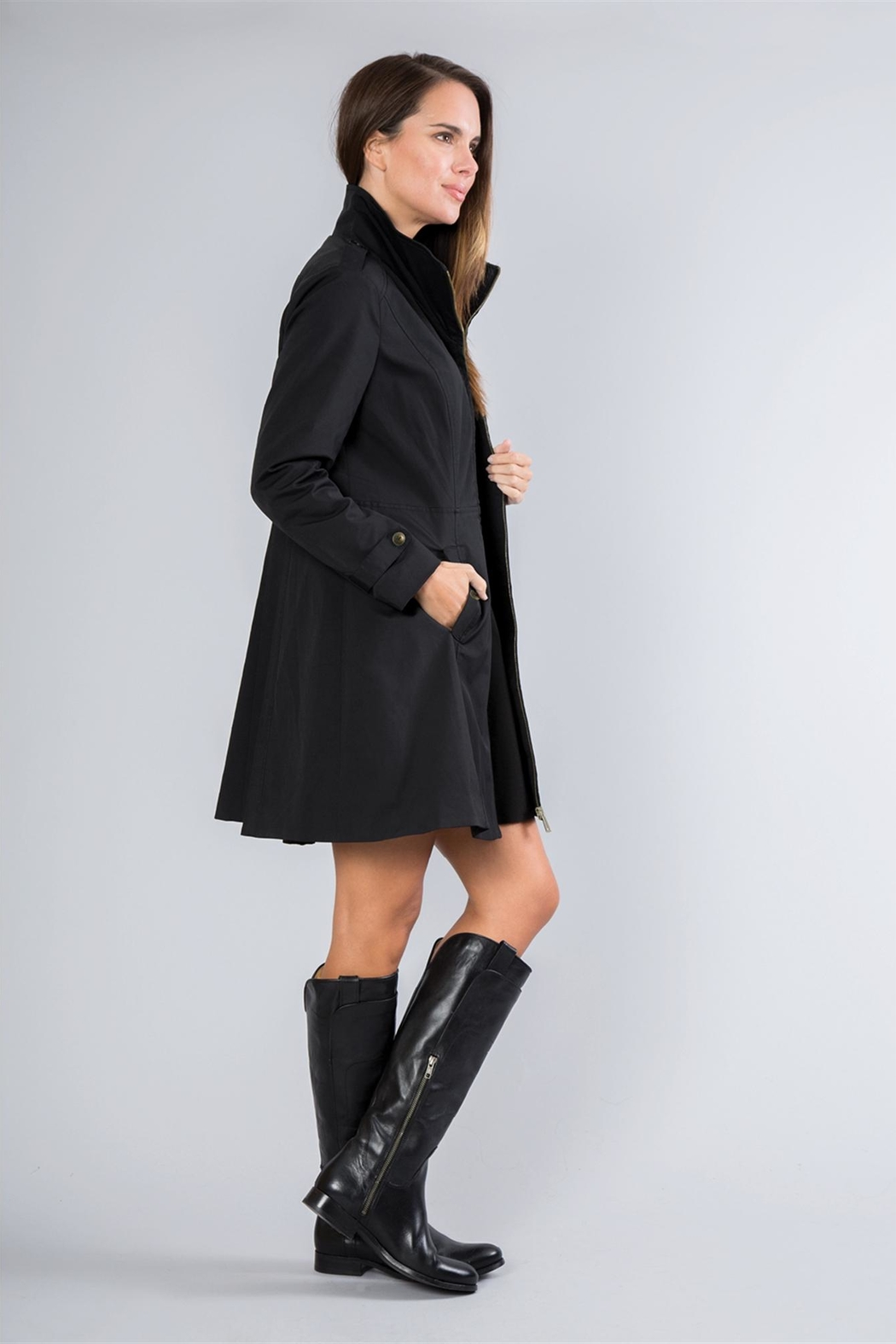 Simply Noelle Fit-And-Flare Rain Coat - Back Cropped Image