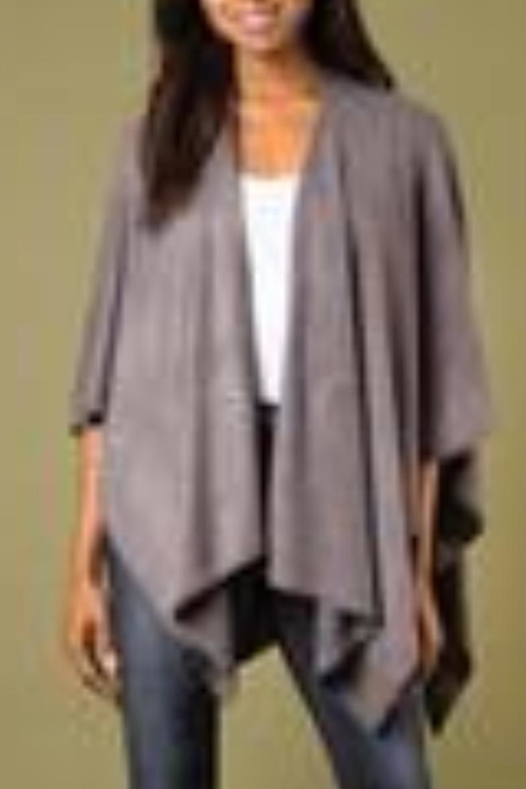 Simply Noelle Heathered Bordeaux Cardi Wrap Poncho Putty - Front Full Image