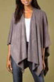 Simply Noelle Heathered Bordeaux Cardi Wrap Poncho Putty - Front full body