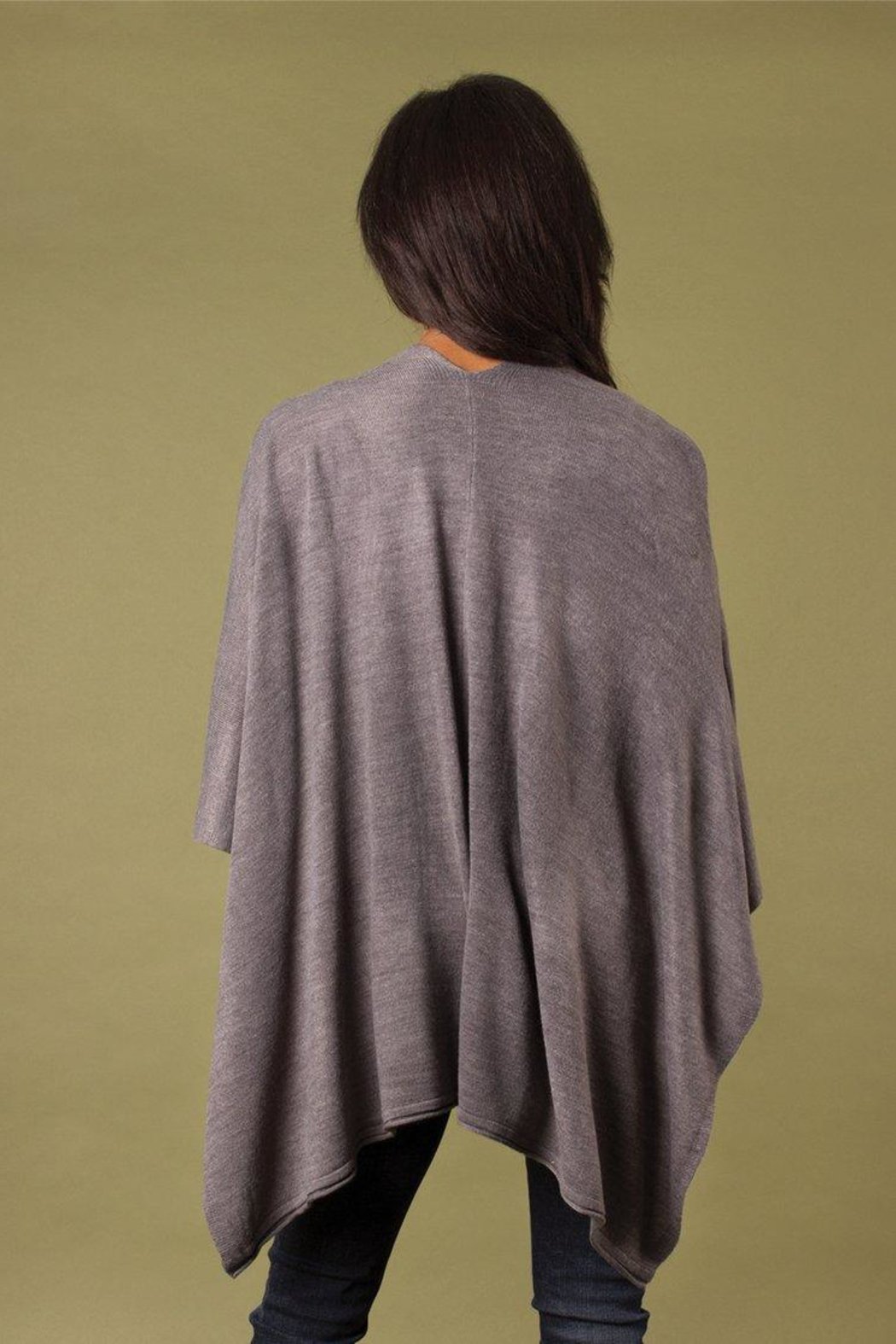 Simply Noelle Heathered Bordeaux Cardi Wrap Poncho Putty - Side Cropped Image