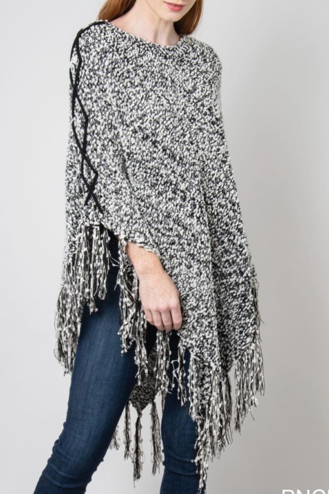 Simply Noelle Herringbone Fringe Poncho - Front Cropped Image