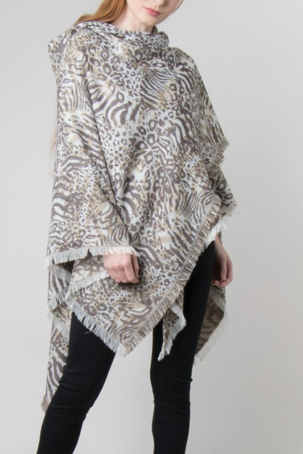 Simply Noelle Hooded Wrap Jaquard Print Poncho - Back Cropped Image