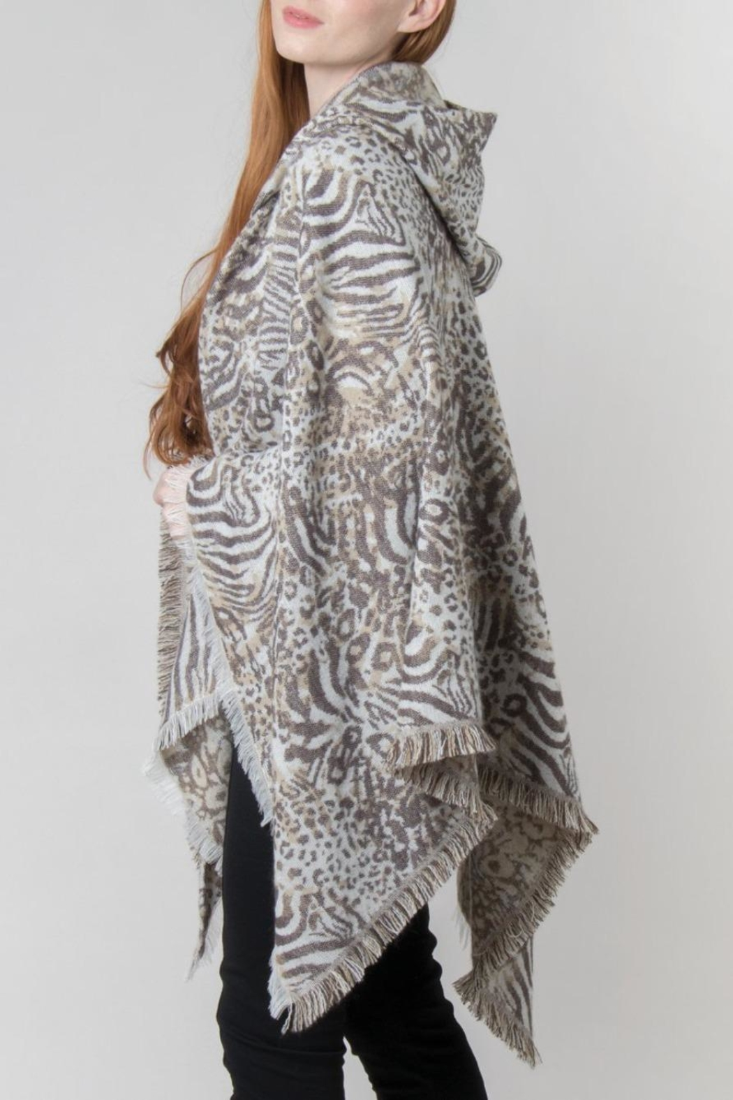 Simply Noelle Hooded Wrap Jaquard Print Poncho - Front Full Image