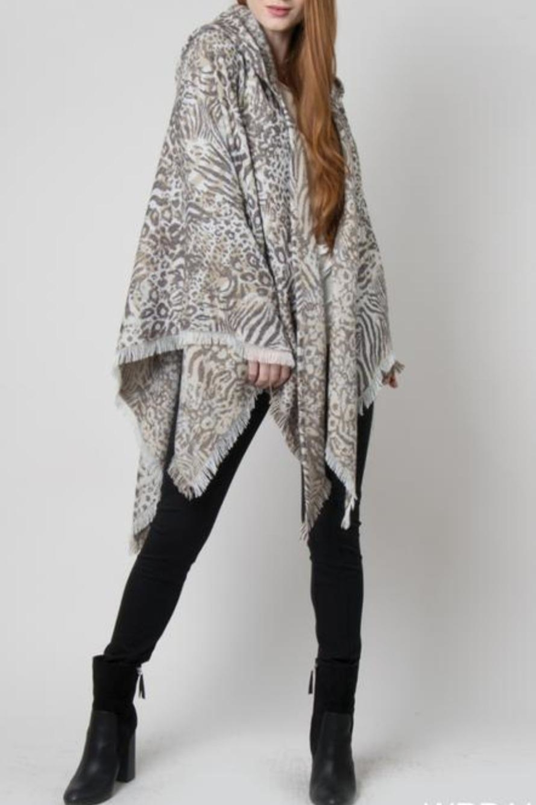 Simply Noelle Hooded Wrap Jaquard Print Poncho - Main Image