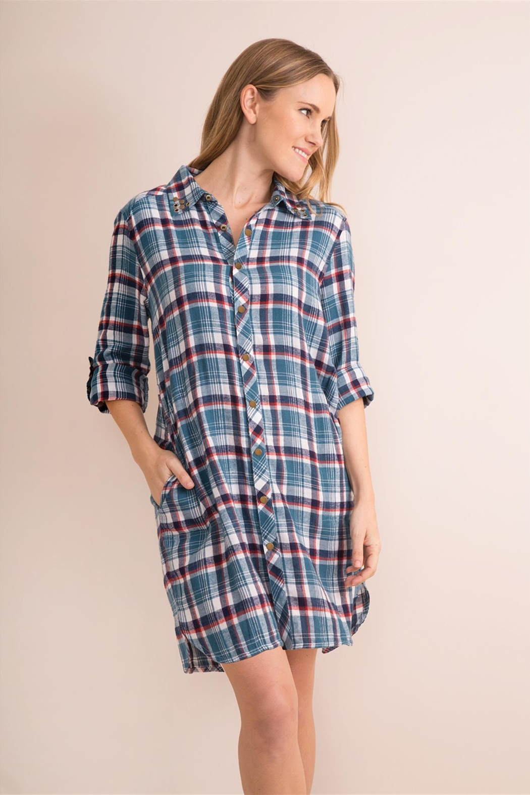 Simply Noelle Plaid Convertible Dress/wrap - Side Cropped Image