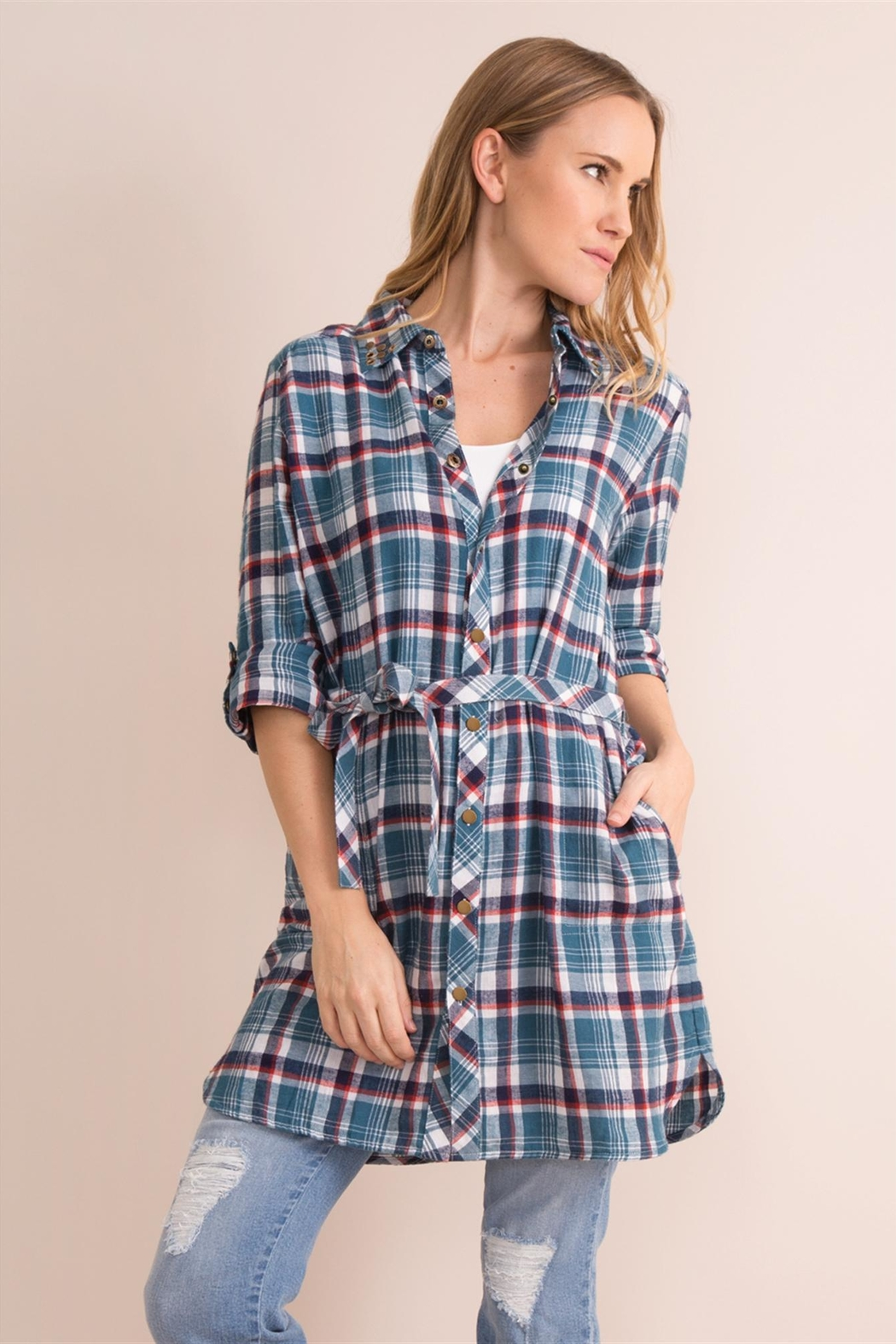 Simply Noelle Plaid Convertible Dress/wrap - Front Full Image