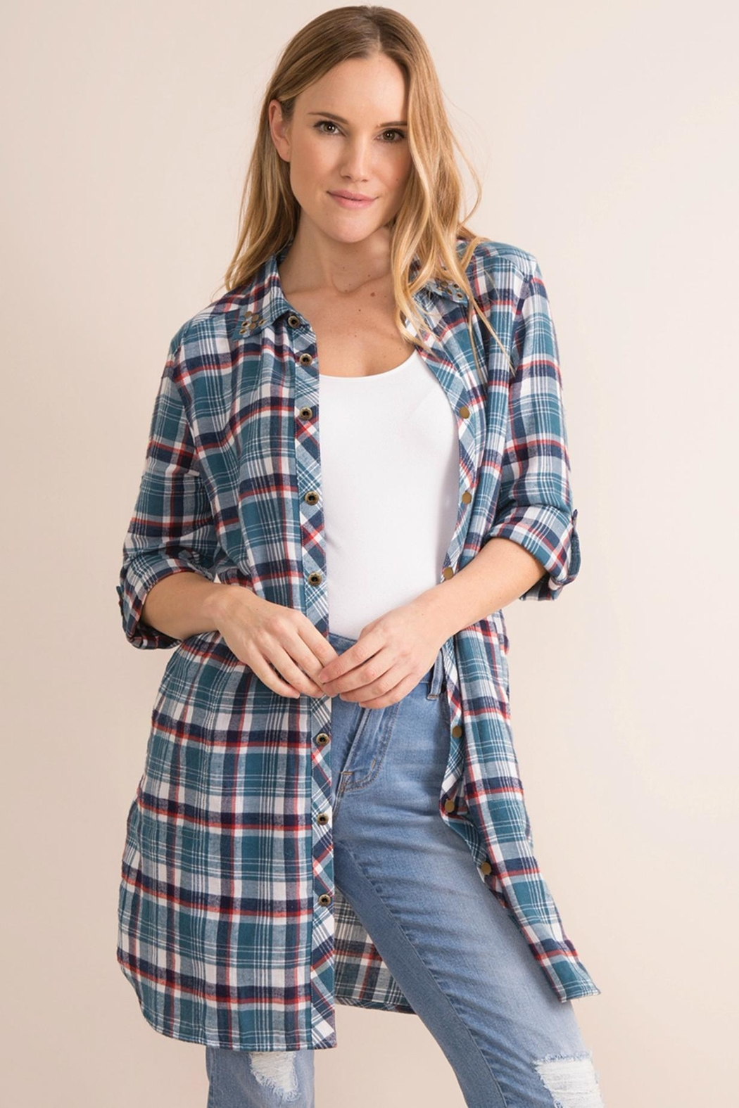 Simply Noelle Plaid Convertible Dress/wrap - Back Cropped Image