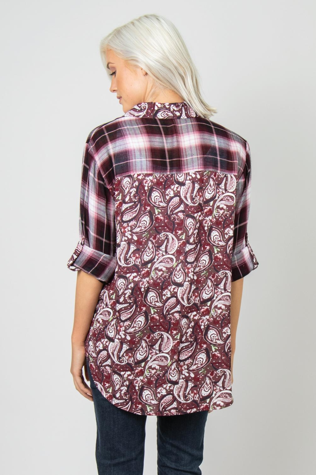 Simply Noelle Plaid/paisley Blouse - Front Full Image