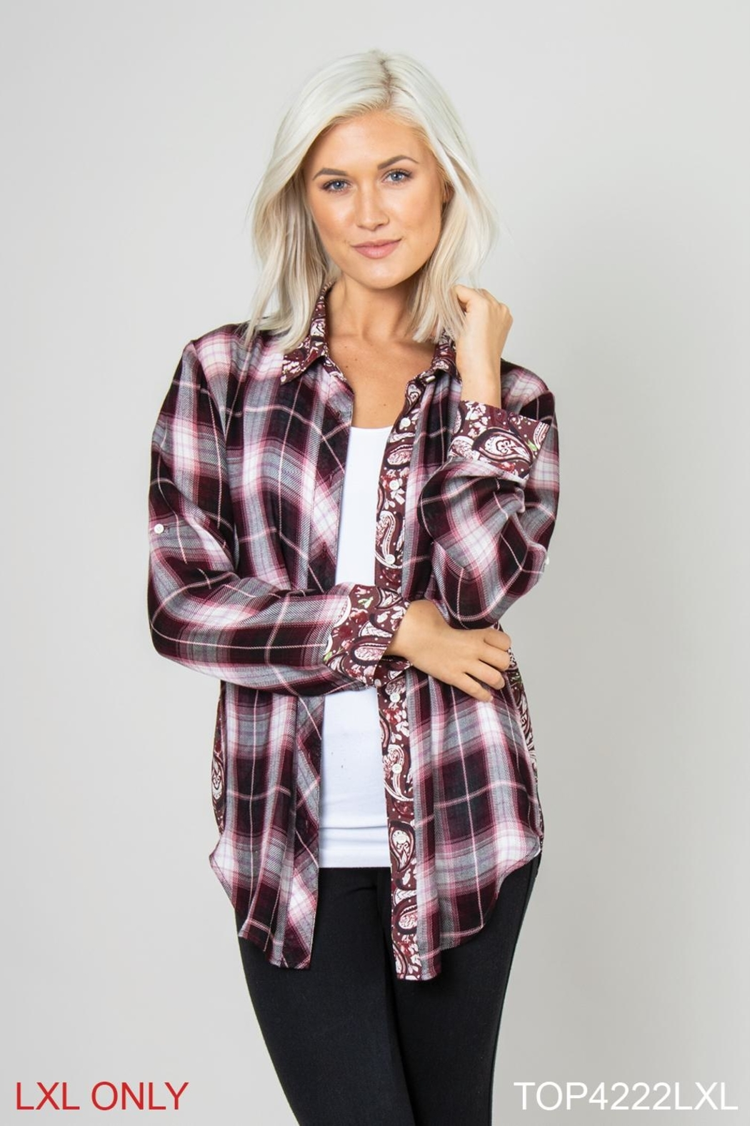 Simply Noelle Plaid/paisley Blouse - Main Image
