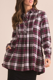 Simply Noelle Plaid Plum Top - Front cropped
