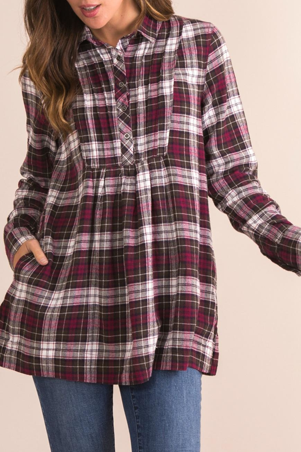 Simply Noelle Plaid Plum Top - Front Full Image