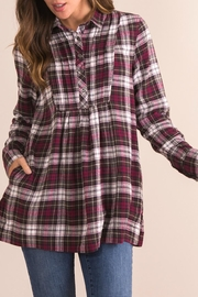 Simply Noelle Plaid Plum Top - Front full body