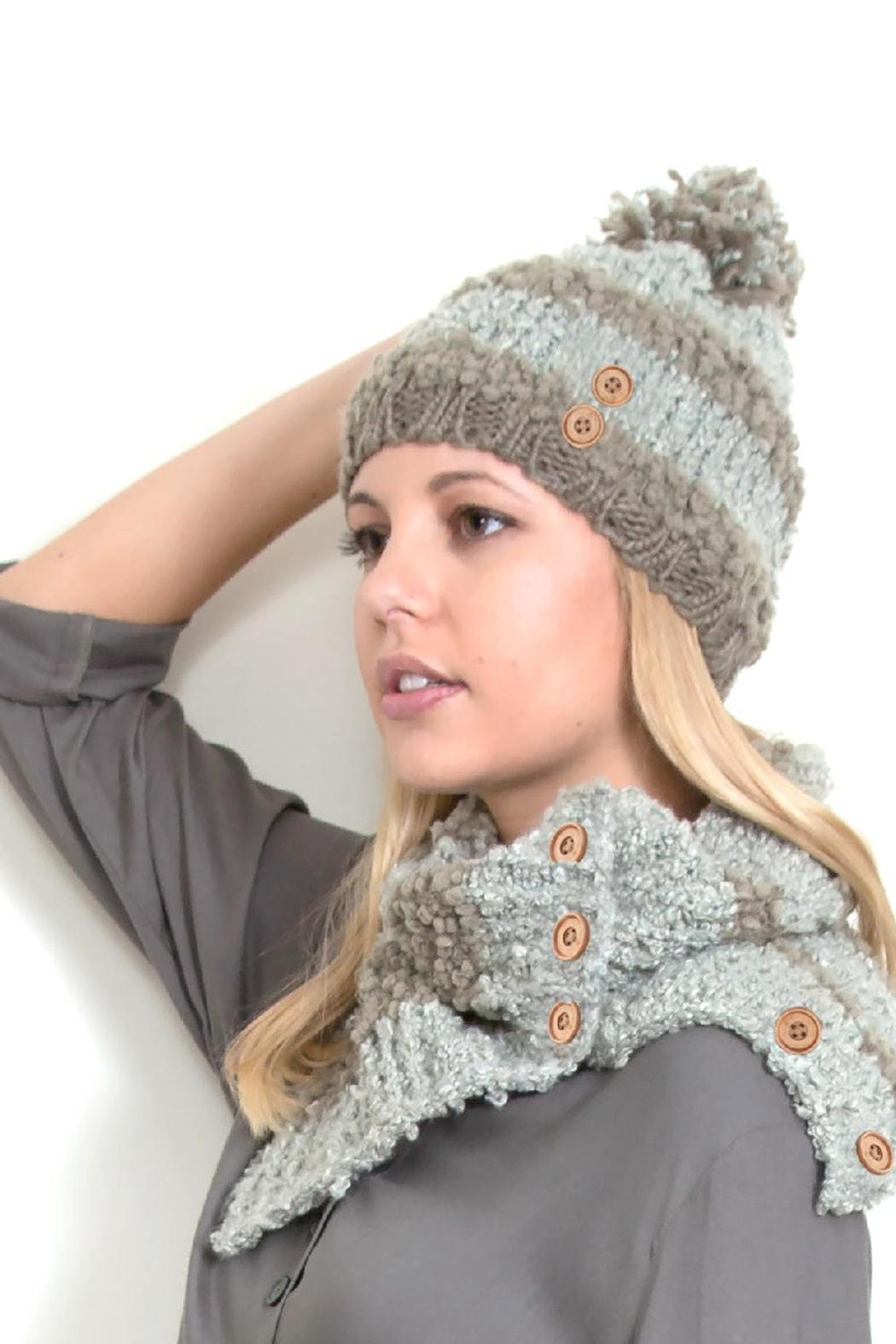 Simply Noelle Stripe Hat W/pom - Front Cropped Image