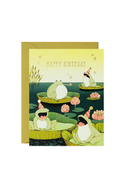 JooJoo Paper Singing Frogs Birthday Card - Front cropped