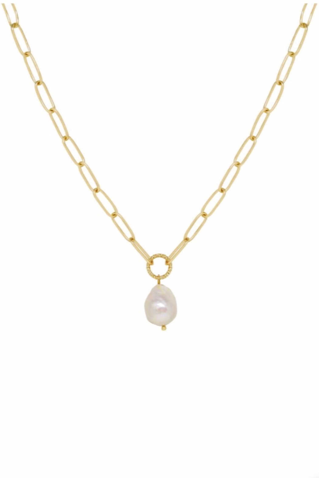 Ettika Single Pearl Links 18k Gold Plated Chain Necklace - Front Full Image